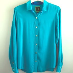 C. Wonder Turquoise and Blue Silk Blouse #267